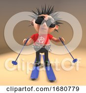 Cartoon 3d Punk Rock Teenager With Spiky Hair Skiing On Skis 3d Illustration