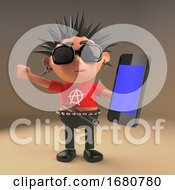 3d Cartoon Spiky Haired Teenage Punk Rock Character Using A Smartphone Tablet Device 3d Illustration