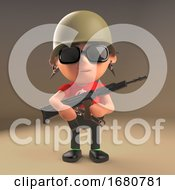 Cartoon 3d Spiky Haired Punk Rock Teenager Wearing A Soldiers Helmet And Holding An Automatic Rifle 3d Illustration