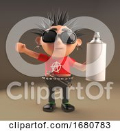 Spiky Haired Cartoon 3d Punk Rocker Teenager Character Holding An Aerosol Spray Can 3d Illustration