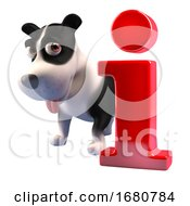 Poster, Art Print Of Cartoon 3d Puppy Dog Character Standing Next To A Red Information Symbol 3d Illustration
