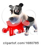 Poster, Art Print Of Cute 3d Puppy Dog Character Holding A Piece Of A Jigsaw Puzzle In Its Mouth 3d Illustration