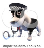 Poster, Art Print Of 3d Cartoon Puppy Dog Dressed As A Police Dog Holding A Pair Of Handcuffs In Its Mouth 3d Illustration