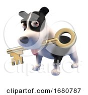 Poster, Art Print Of 3d Cartoon Puppy Dog Character Holding A Gold Key In Its Mouth 3d Illustration