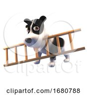 Poster, Art Print Of Cartoon 3d Puppy Dog Character Holding A Ladder In Its Mouth 3d Illustration