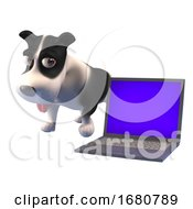 Poster, Art Print Of 3d Cartoon Puppy Dog Character Standing Next To A Laptop Computer Device 3d Illustration