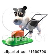 Poster, Art Print Of Cartoon 3d Puppy Dog Character Looking At A Lawnmower 3d Illustration