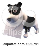 Poster, Art Print Of Cute 3d Puppy Dog Character Holding An Envelope Mail Message 3d Illustration