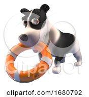 Poster, Art Print Of Brave 3d Puppy Dog Comes To The Rescue With A Lifering Life Preserver 3d Illustration