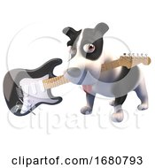Poster, Art Print Of 3d Puppy Dog Character Holding An Electric Guitar In Its Mouth 3d Illustration
