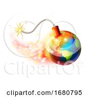 Poster, Art Print Of Global Warming Planet Earth On Fire