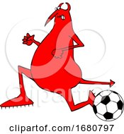Cartoon Chubby Devil Playing Soccer