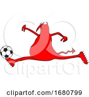 Cartoon Red Devil Playing Soccer