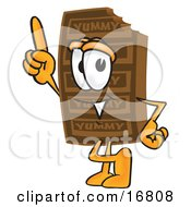 Clipart Picture Of A Chocolate Candy Bar Mascot Cartoon Character Pointing Upwards by Toons4Biz