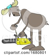 Cartoon Moose Powering Up A Chainsaw