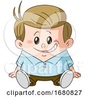 09/28/2019 - Cartoon Sandy Blond Caucasian Boy Sitting