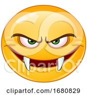 Poster, Art Print Of Fanged Yellow Emoji Smiley Emoticon