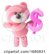 Cute 3d Pink Teddy Bear Soft Toy Character Holding A Pink UK Dollar Currency Symbol 3d Illustration by Steve Young