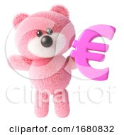 3d Cute Pink Fluffy Teddy Bear Soft Toy Character Holding A Pink Euro Currency Symbol 3d Illustration
