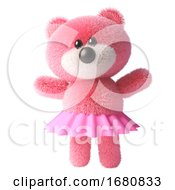 Poster, Art Print Of Cute 3d Pink Fluffy Teddy Bear Soft Toy Character Wearing A Pink Fairy Tutu Dress 3d Illustration