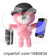 Cute 3d Pink Teddy Bear Soft Toy Wearing A Bowler Hat And Holding A Smartphone And Briefcase 3d Illustration