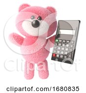 Cute 3d Pink Fluffy Teddy Bear Soft Toy Character Holding A Digital Calculator 3d Illustration