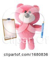 Cartoon 3d Pink Fluffy Teddy Bear Soft Toy Character Holding A Pencil And Clipboard 3d Illustration by Steve Young