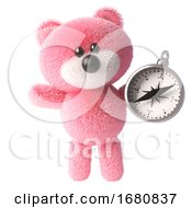 Cute Pink 3d Cuddly Teddy Bear Soft Toy Character Holding A Magnetic Compass 3d Illustration