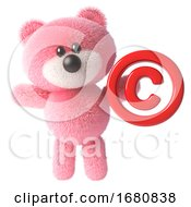 Cute 3d Pink Fluffy Teddy Bear Soft Toy Character Holding A Copyright Symbol 3d Illustration