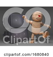 Cartoon 3d Egyptian Mummy Monster Dancing In Front Of Loudspeakers At A Halloween Rave 3d Illustration