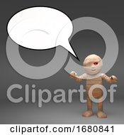 3d Cartoon Egyptian Mummy Monster With A Blank Speech Bubble 3d Illustration