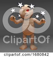 Cartoon 3d Halloween Egyptian Mummy Monster Dizzy And Confused Seeing Stars 3d Illustration