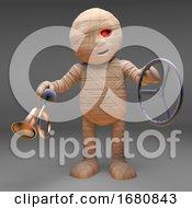 Halloween 3d Cartoon Egyptian Mummy Monster Holding A Steering Wheel And Car Horn 3d Illustration
