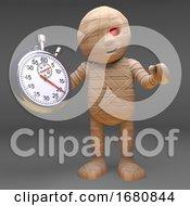 Halloween 3d Cartoon Egyptian Mummy Monster Holding A Stopwatch 3d Illustration