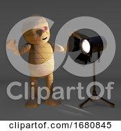 Egyptian 3d Cartoon Halloween Mummy Monster Looks At A Studio Spotlight 3d Illustration