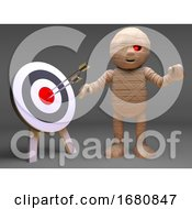 Cartoon Halloween 3d Egyptian Mummy Monster Looking At A Target With Arrows In Bullseye 3d Illustration