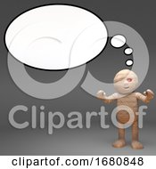 Poster, Art Print Of Halloween 3d Cartoon Egyptian Mummy Monster With Blank Thought Bubble 3d Illustration
