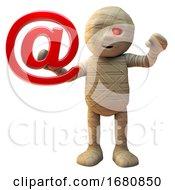 Poster, Art Print Of Cartoon 3d Egyptian Mummy Monster Holding An Email Address Symbol 3d Illustration
