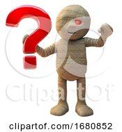 Poster, Art Print Of 3d Cartoon Halloween Egyptian Mummy Monster Holding A Question Mark Symbol 3d Illustration