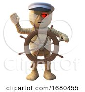 Poster, Art Print Of 3d Cartoon Egyptian Mummy Monster Dressed As A Sailor At The Ships Wheel 3d Illustration