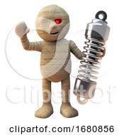 Poster, Art Print Of Cartoon 3d Egyptian Mummy Monster Holding A Vehicle Suspension Shock Absorber 3d Illustration