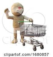 Poster, Art Print Of Cartoon 3d Egyptian Mummy Monster With An Empty Shopping Trolley 3d Illustration