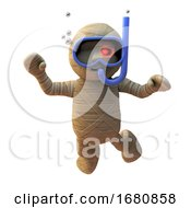 Poster, Art Print Of 3d Cartoon Egyptian Halloween Mummy Monster Swimming With Scuba Snorkel Diving Mask And Snorkel 3d Illustration
