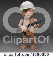 3d Cartoon Egyptian Mummy Monster Dressed As A Soldier Holding An Automatic Rifle 3d Illustration