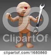 Cartoon 3d Egyptian Mummy Monster Holding A Spanner 3d Illustration