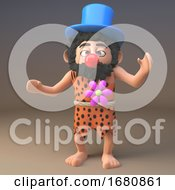 Poster, Art Print Of 3d Cartoon Prehistoric Caveman Character Dressed As A Clown With Red Nose And Top Hat 3d Illustration