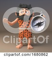 Poster, Art Print Of 3d Cartoon Prehistoric Caveman Character Holding A Magnetic Compass 3d Illustration