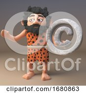 3d Cartoon Prehistoric Caveman Character Holding A Copyright Symbol 3d Illustration