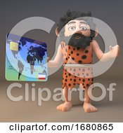Poster, Art Print Of 3d Cartoon Prehistoric Caveman Character Paying At Checkout With A Credit Card 3d Illustration