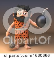 Poster, Art Print Of 3d Cartoon Prehistoric Caveman Character Holding A Gunpowder Bomb 3d Illustration